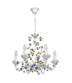 White Six Light Chandelier With Gold Detail And Purple Flowers