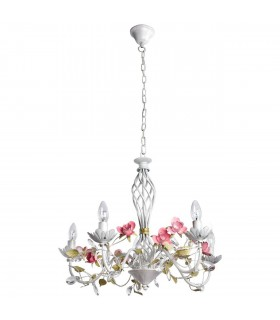 White Five Light Chandelier With Gold Detail And Pink Flowers