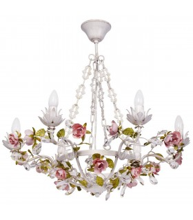 White Six Light Chandelier With Gold Detail And Pink Flowers