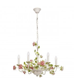 White Six Light Chandelier With Pink Flowers