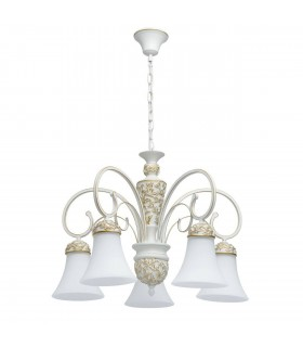 White And Gold Five Light Chandelier With White Glass Shades