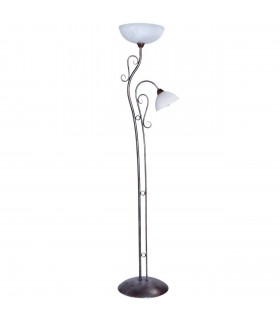 Coffee Coloured Two Light Floor Lamp With White Glass Shades