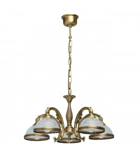 Antique Brass Five Light Pendant With Frosted Glass Shades