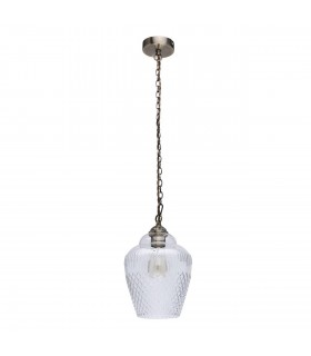 1 Light Ceiling Pendant Antique Brass, Clear with Glass Shade