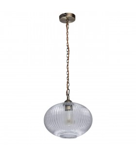 1 Light Ceiling Pendant Antique Brass, Clear with Ribbed Glass Shade
