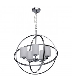 5 Light Spherical Ceiling Pendant Chrome, White with Glass Shades