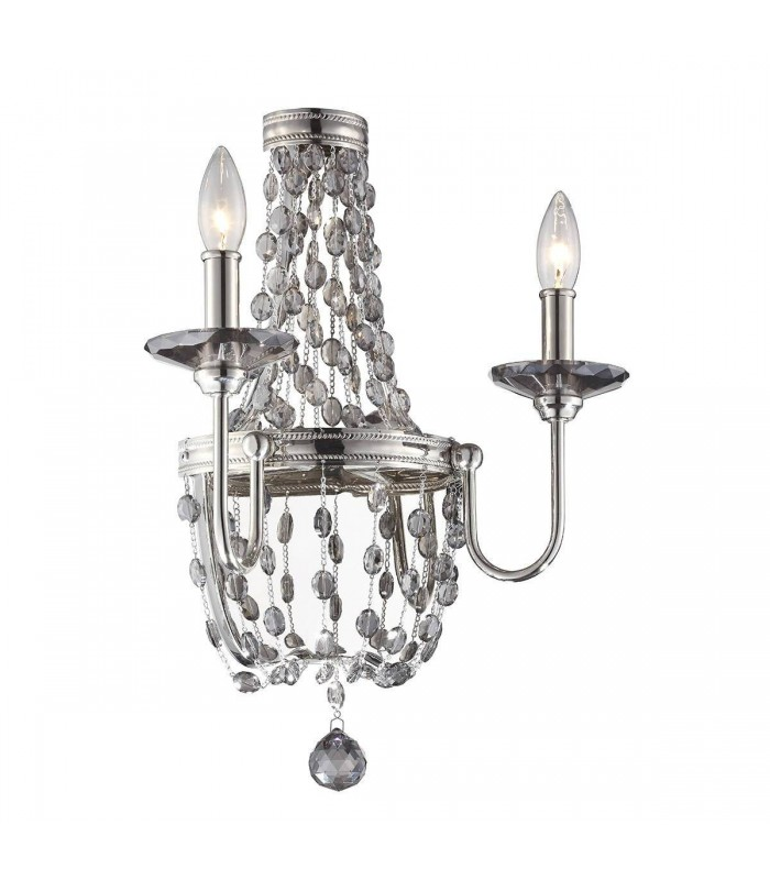 2 Light Indoor Candle Wall Light Polished Nickel, E14