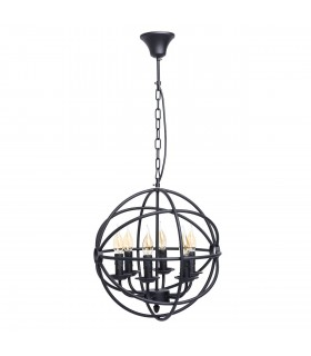 6 Light Small Spherical Ceiling Pendant Black with Crystals