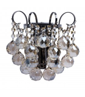 1 Light Indoor Wall Light Nickel, Clear with Crystals