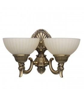 Antique Brass Double Wall Light With Vanilla Glass Shade