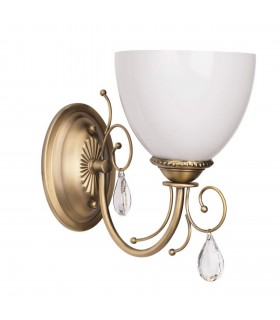 Antique Brass Single Wall Light With White Shade And Crystals