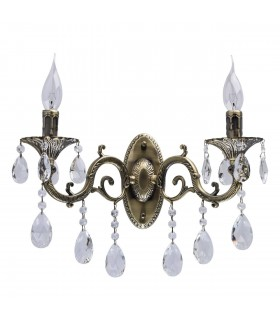 Antique Brass Double Wall Light With Crystals