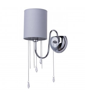 1 Light Indoor Wall Light Chrome with Grey Shade And Crystals