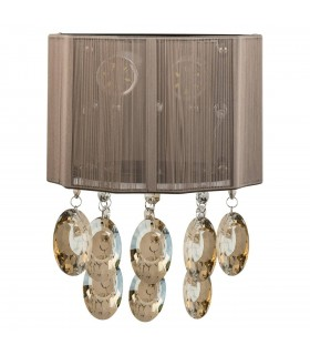 LED 2 Light Indoor Wall Light Chrome, Brown Shade And Crystals