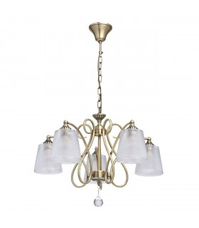 Antique Brass Five Light Pendant With Textured Glass Shades And Crystal Decor
