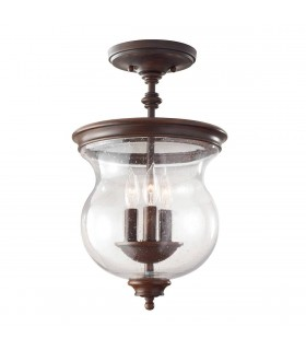 3 Light Semi Flush Ceiling Light Antique Bronze, E14