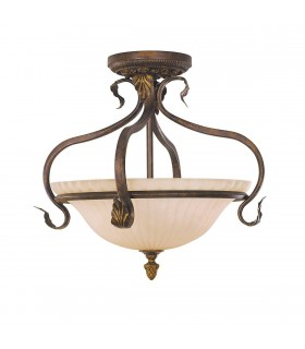 3 Light Semi Flush Ceiling Light Aged Tortoise Shell