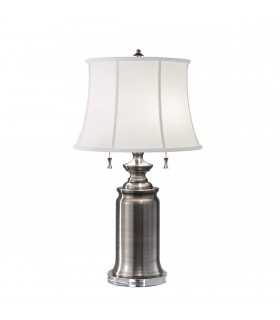 2 Light Table Lamp Antique Nickel, E27