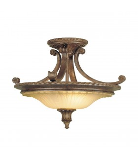 2 Light Semi Flush Ceiling Light British Bronze, E27