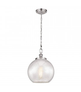 1 Light Dome Ceiling Pendant Brushed Steel