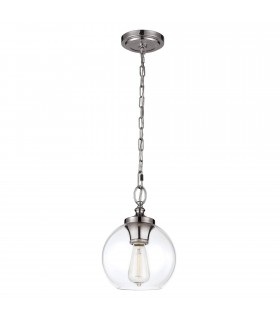 1 Light Dome Ceiling Mini Pendant Polished Nickel