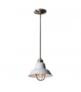 1 Light Dome Ceiling Pendant Brushed Steel, E27