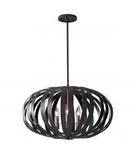 6 Light Large Spherical Cage Ceiling Chandelier Pendant Light Black, E14