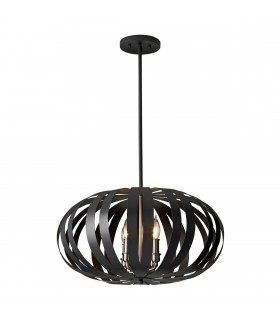 4 Light Medium Spherical Cage Ceiling Chandelier Pendant Light Black, E14