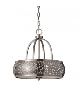 4 Light Cylindrical Ceiling Pendant Light Brushed Steel with Silver Fabric, E27