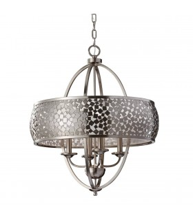 Brushed Steel Four Light Chandelier With Silver Fabric