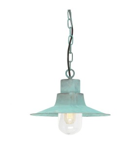 1 Light Outdoor Ceiling Chain Lantern Verdigris IP44