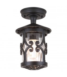 1 Light Outdoor Ceiling Lantern Black