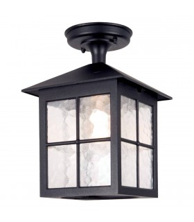 1 Light Outdoor Ceiling Lantern Black IP43