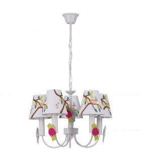 5 Light Childrens Multi Arm Ceiling Pendant with Printed Design White, E14