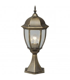 Black And Gold Single Outdoor Lantern Pedestal With Clear Glass