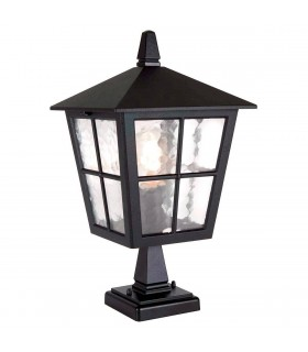 1 Light Outdoor Pedestal Lantern Black IP43