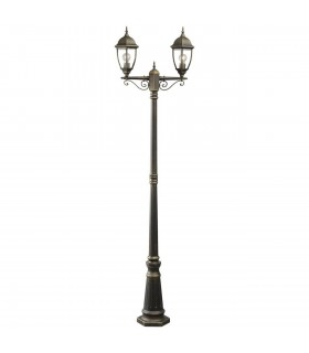 Black And Gold Two Light Outdoor Post Lantern With Clear Glass
