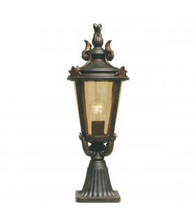 1 Light Medium Outdoor Pedestal Lantern Weathered Bronze IP44, E27