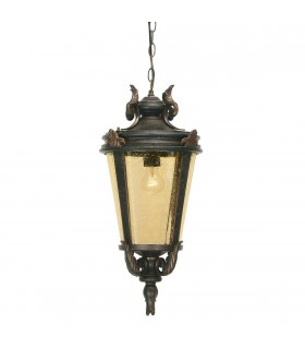 1 Light Large Outdoor Ceiling Chain Lantern Weathered Bronze