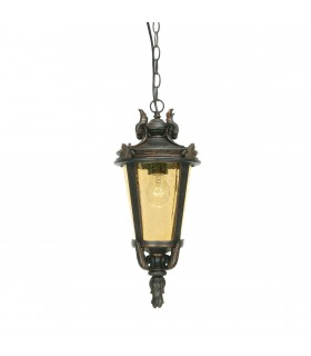 1 Light Medium Outdoor Ceiling Chain Lantern Weathered Bronze