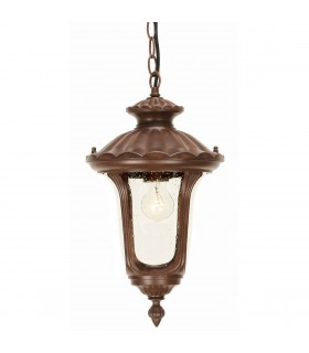 1 Light Small Outdoor Ceiling Chain Lantern Rusty Bronze Patina IP44