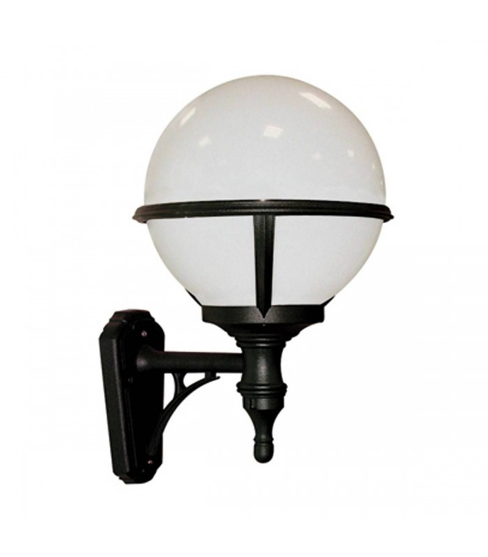 1 Light Outdoor Globe Wall Lantern Light Black IP44, E27