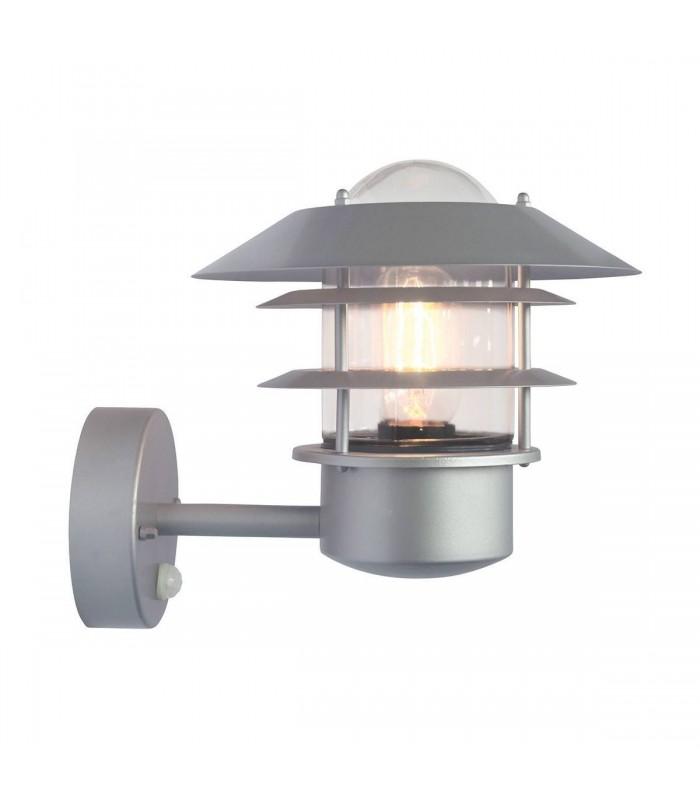 1 Light Outdoor Lantern Light Silver with PIR Motion Sensor IP44, E27