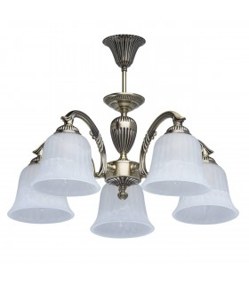 Antique Brass Five Light Semi-Flush Fitting With Glass Shades
