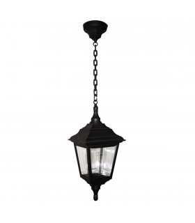 1 Light Outdoor Ceiling Chain Lantern Black IP44