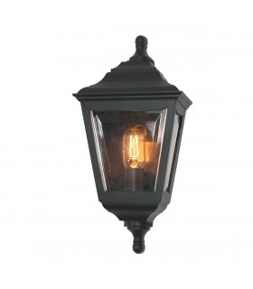 1 Light Outdoor Flush Mount Wall Lantern Black IP44