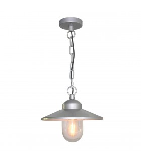 1 Light Outdoor Ceiling Chain Lantern Silver IP44