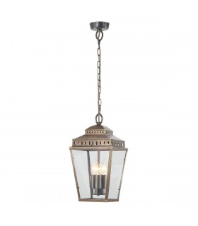 3 Light Outdoor Ceiling Chain Lantern Brass IP44