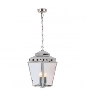 3 Light Outdoor Ceiling Chain Lantern Polished Nickel IP44, E14