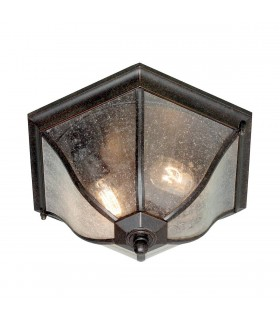 2 Light Medium Outdoor Flush Ceiling Lantern Weathered Bronze IP44